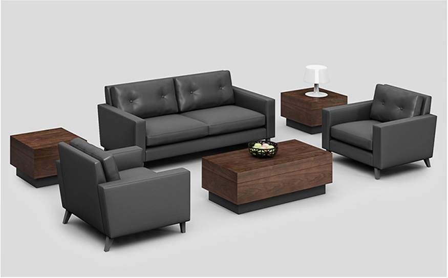 现代简约商务接待会客洽谈真皮沙发