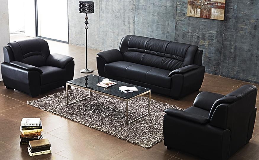 现代简约  商务会客高档皮质沙发