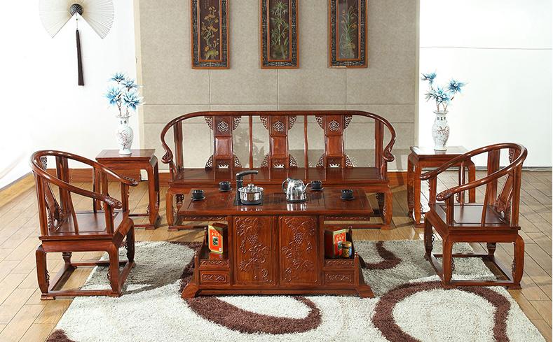 中式传统 仿古实木办公紫檀木沙发