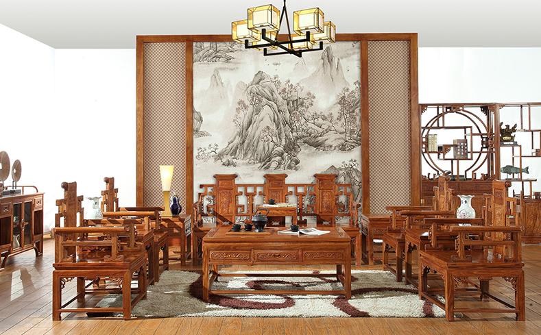 中式传统 明清仿古实木紫檀木办公沙发