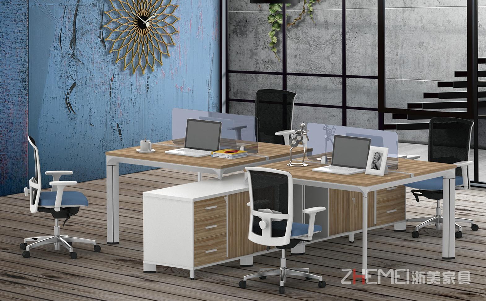 时尚自由 浙美屏风办公室用办公台职员桌