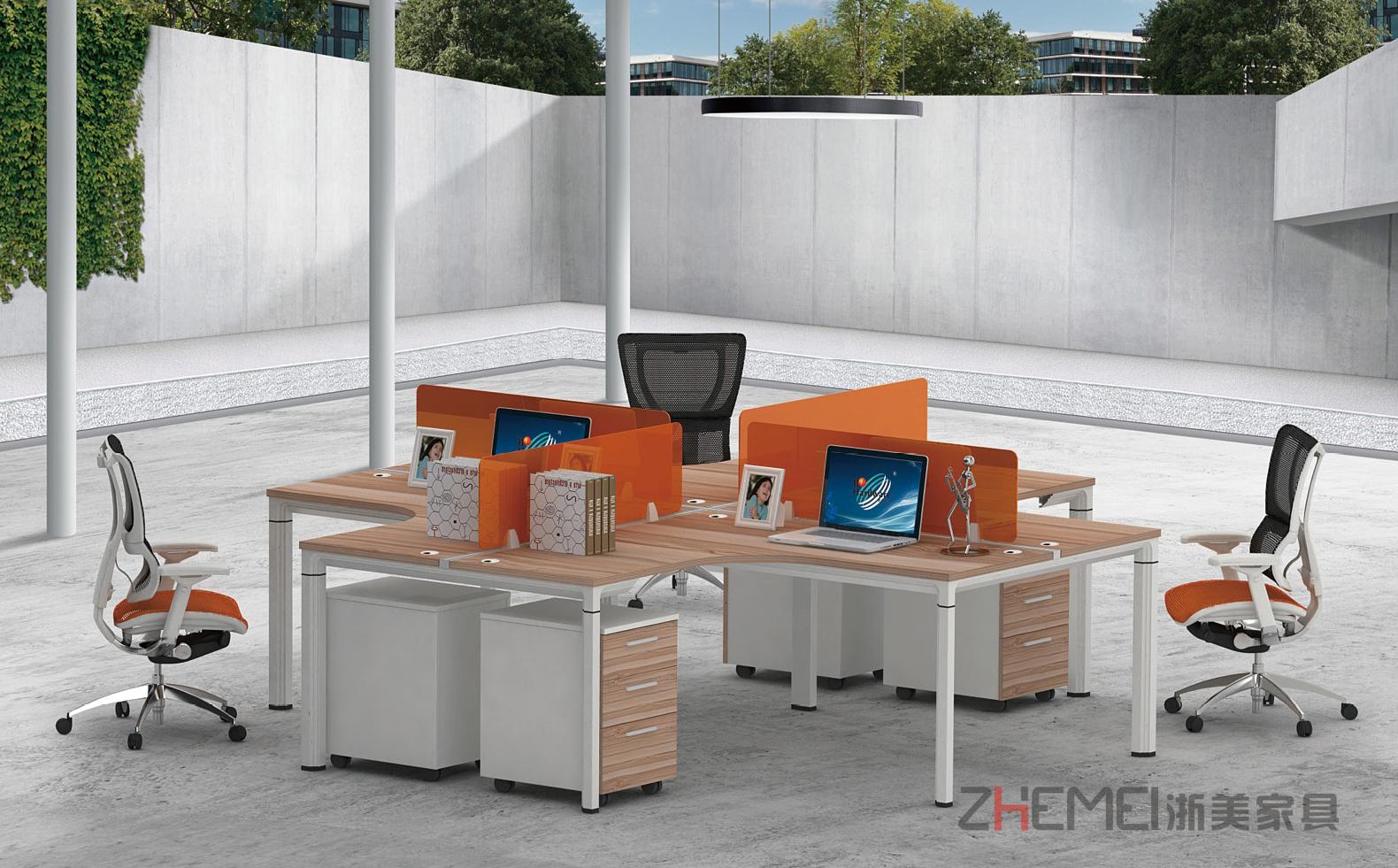 时尚自由 浙美办公室屏风搁板职员台、员工办公桌