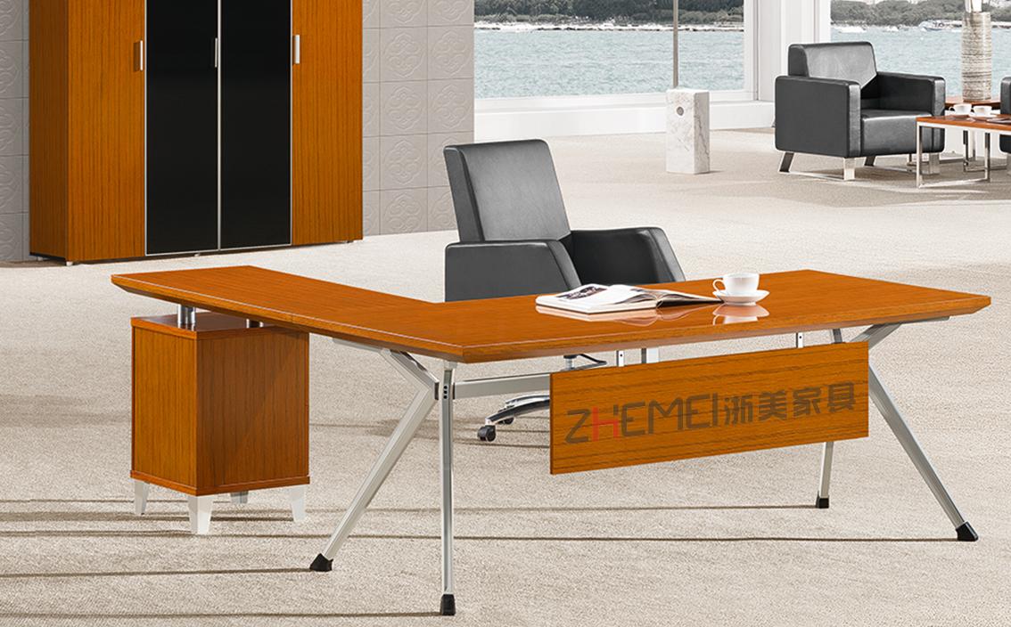 时尚自由 浙美金柚木经理主管办公室电脑桌办公台