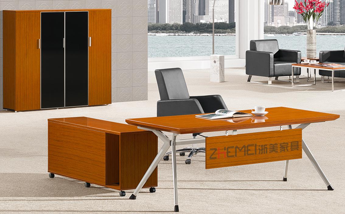 时尚自由 浙美金柚木经理办公室电脑桌办公台