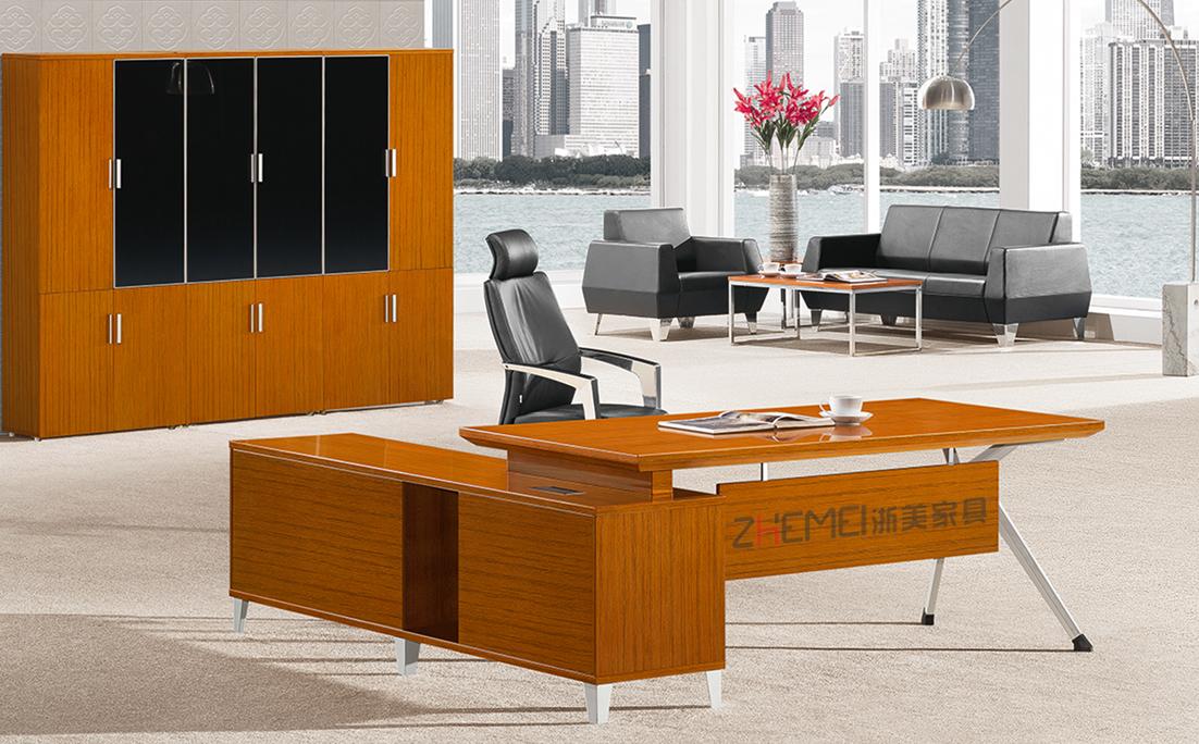 时尚自由 浙美金柚木主管办公台电脑桌写字台