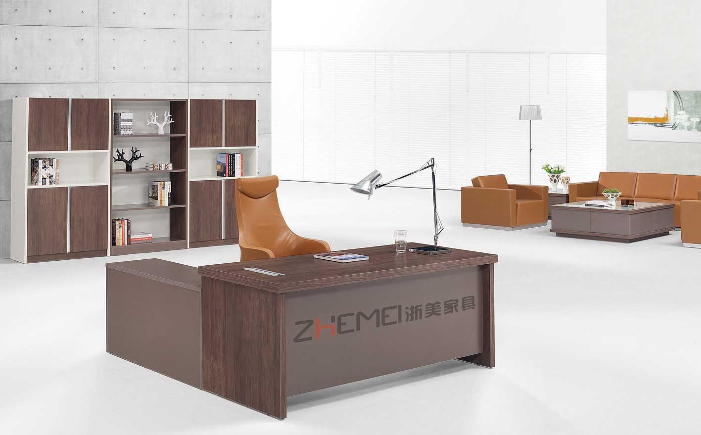 浙美现代时尚经理办公桌带侧柜空间大电脑桌