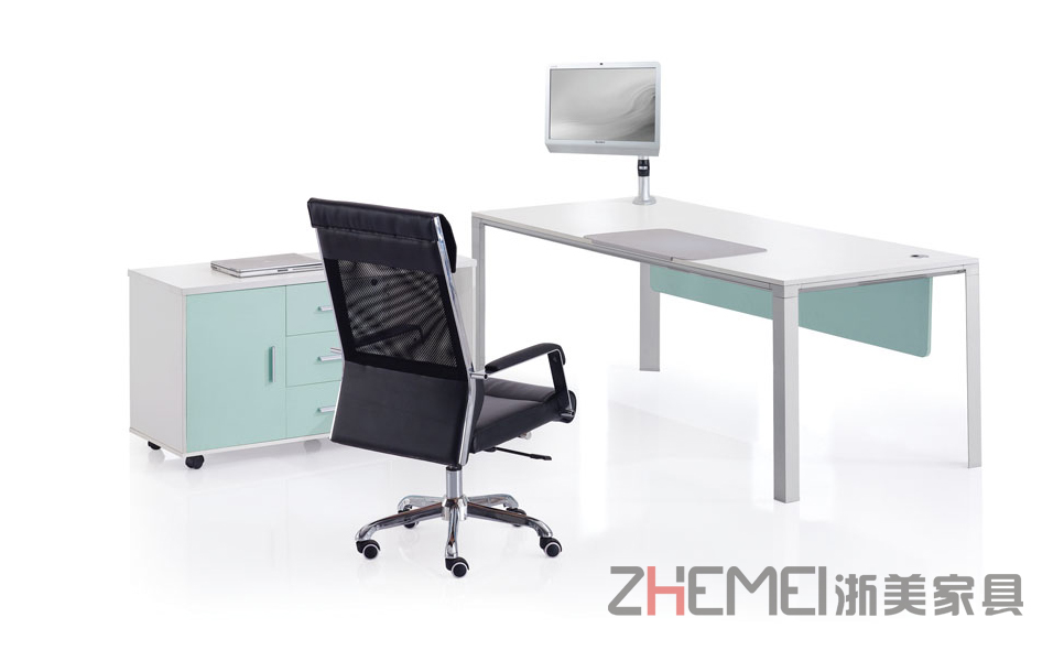 浙美现代简约时尚经理办公专用带侧柜办公台