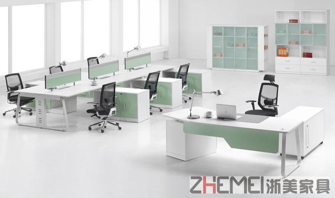 浙美现代简约创意交错职员办公桌、电脑桌